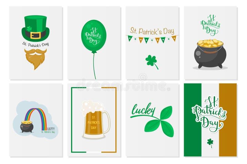 Поздравительные открытки, знамена, предпосылки, плакаты с символами дня St. Patrick s вектор комплекта сердец шаржа приполюсный Н иллюстрация вектора
