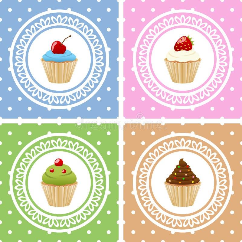 Поздравительые открытки ко дню рождения с днем рождений с пирожными иллюстрация вектора