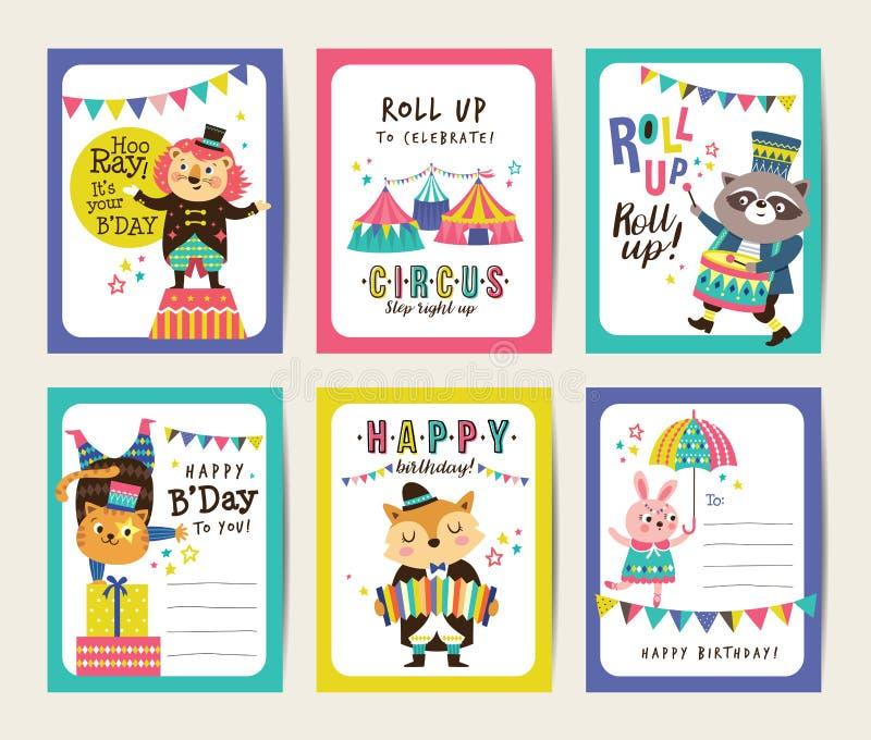 Поздравительые открытки ко дню рождения иллюстрация вектора