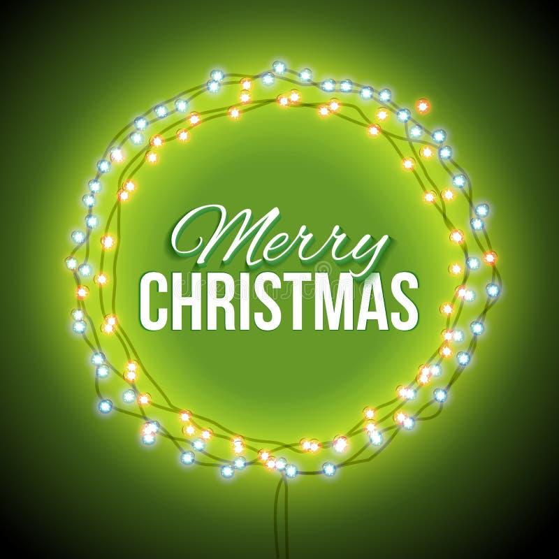 Поздравление к рождеству с зелеными светами бесплатная иллюстрация