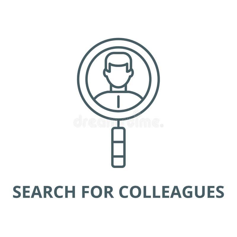 Поиск для линии значка вектора коллег, линейной концепции, знака плана, символа иллюстрация вектора