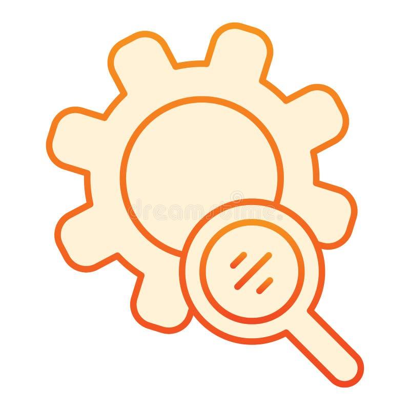 Поиск зацепляет плоский значок Увеличитель и значки развития оранжевые в ультрамодном плоском стиле Дизайн стиля градиента устано иллюстрация вектора
