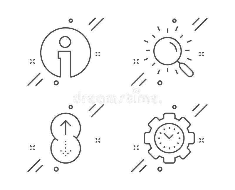 Поиск, информация и удар вверх по набору значков Знак контроля времени Найдите документ, информация, страница скроллинга r бесплатная иллюстрация