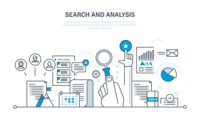 Поиск и анализ информации, сообщения, обслуживаний, маркетинга, исследования иллюстрация штока