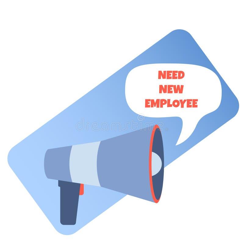 Поиск и нанять нового работника, дружелюбная команда работников офиса ищет специалист используя громкоговоритель, изображение век иллюстрация вектора