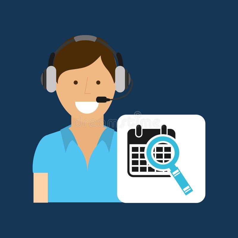 Поиск календаря центра телефонного обслуживания концепции обслуживания поставки иллюстрация вектора