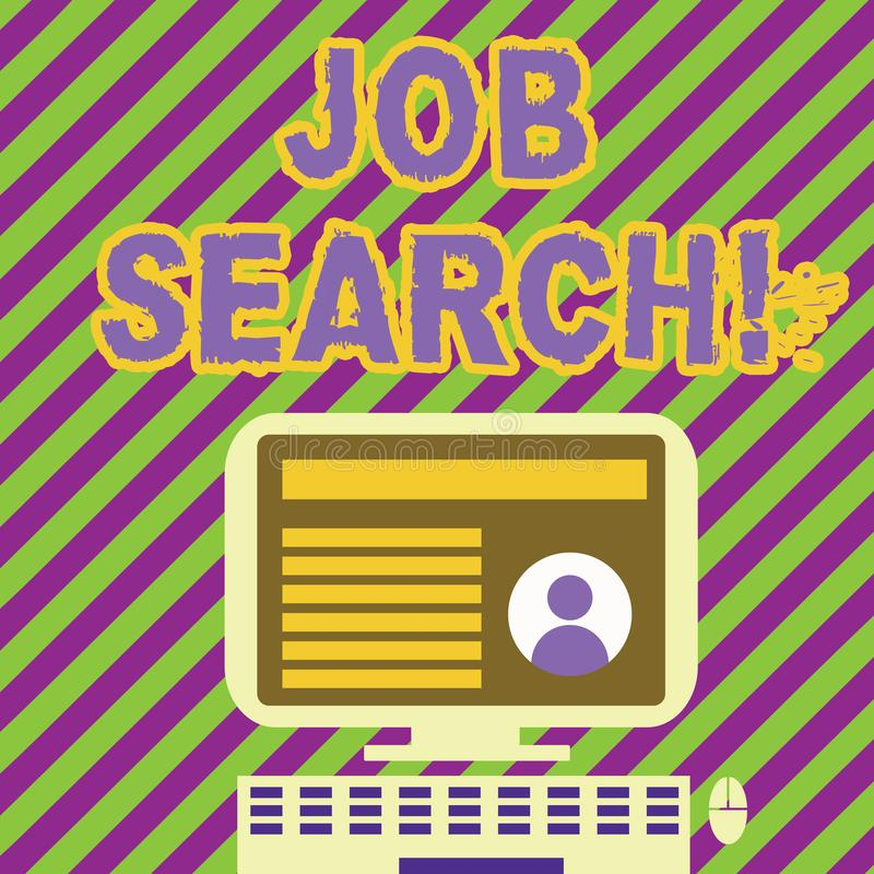 Поиск работы сочинительства текста почерка Поступок смысла концепции искать занятость должный к underemployment безработицы иллюстрация штока