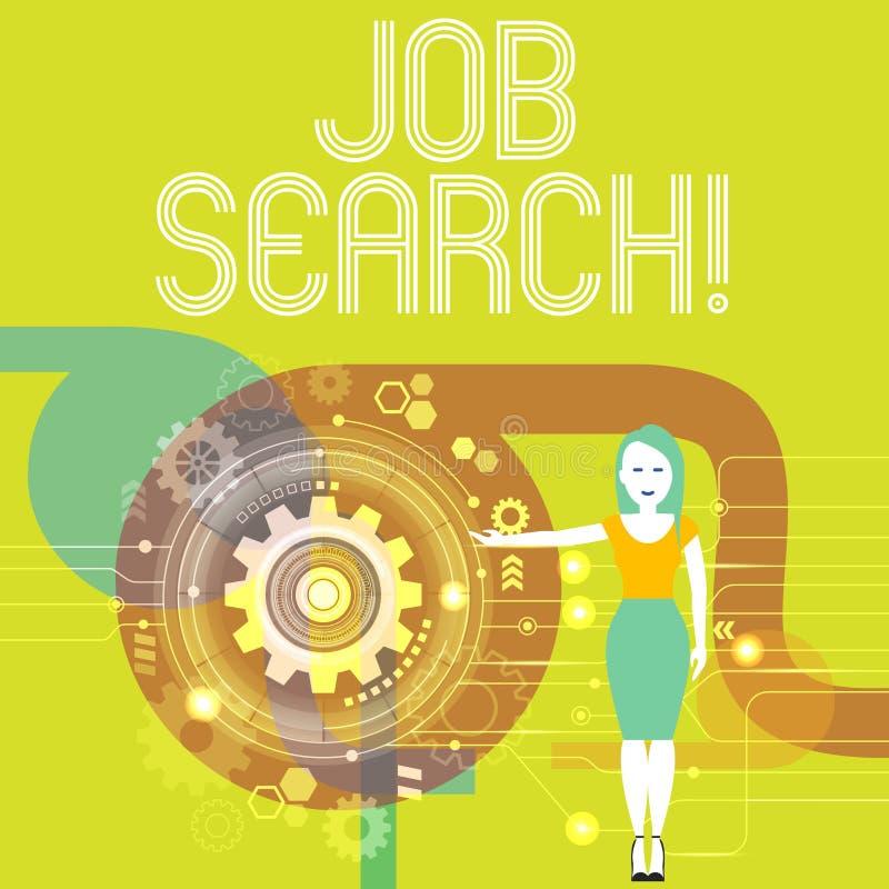 Поиск работы сочинительства текста почерка Поступок смысла концепции искать занятость должный к underemployment безработицы иллюстрация вектора