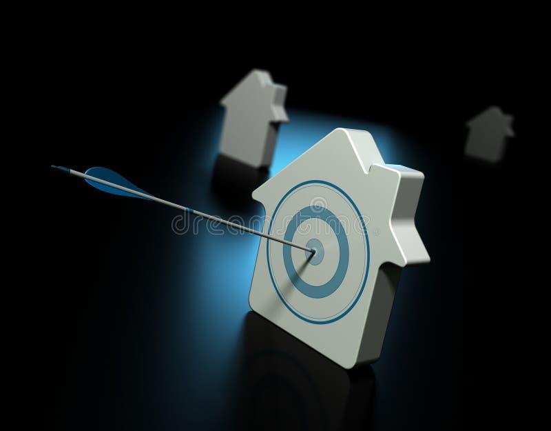 Поиск свойства, покупая принципиальную схему дома иллюстрация штока