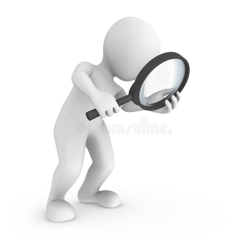 Поиск с лупой белизна людей фонового изображения 3d изолированная малая бесплатная иллюстрация