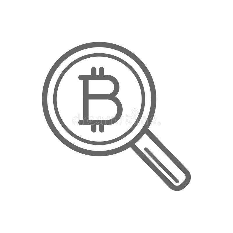 Поиск Bitcoin с линией значком увеличителя иллюстрация штока