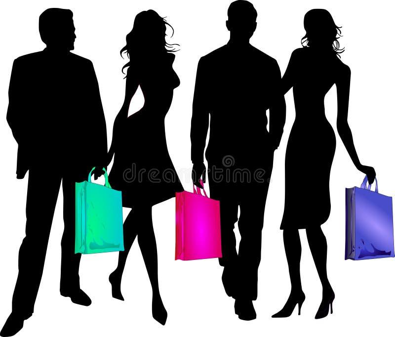 пойдите ходить по магазинам к twosomes иллюстрация штока