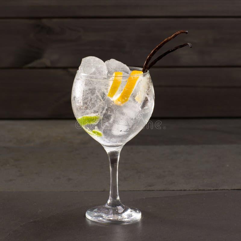 Поймайте тонический коктеиль в западню с льдом ванильным Лимой и лимоном на черноте стоковые фото