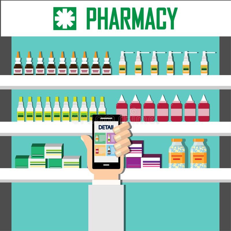 Покажите детали медицину на экране smartphone Современные внутренние фармация или аптека Витамины бутылок капсул пилюлек медицины иллюстрация штока