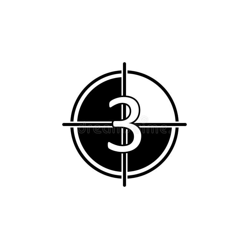 покажите значок отсчета кино Элемент значка кино Наградной качественный значок графического дизайна Знаки и значок собрания симво иллюстрация вектора