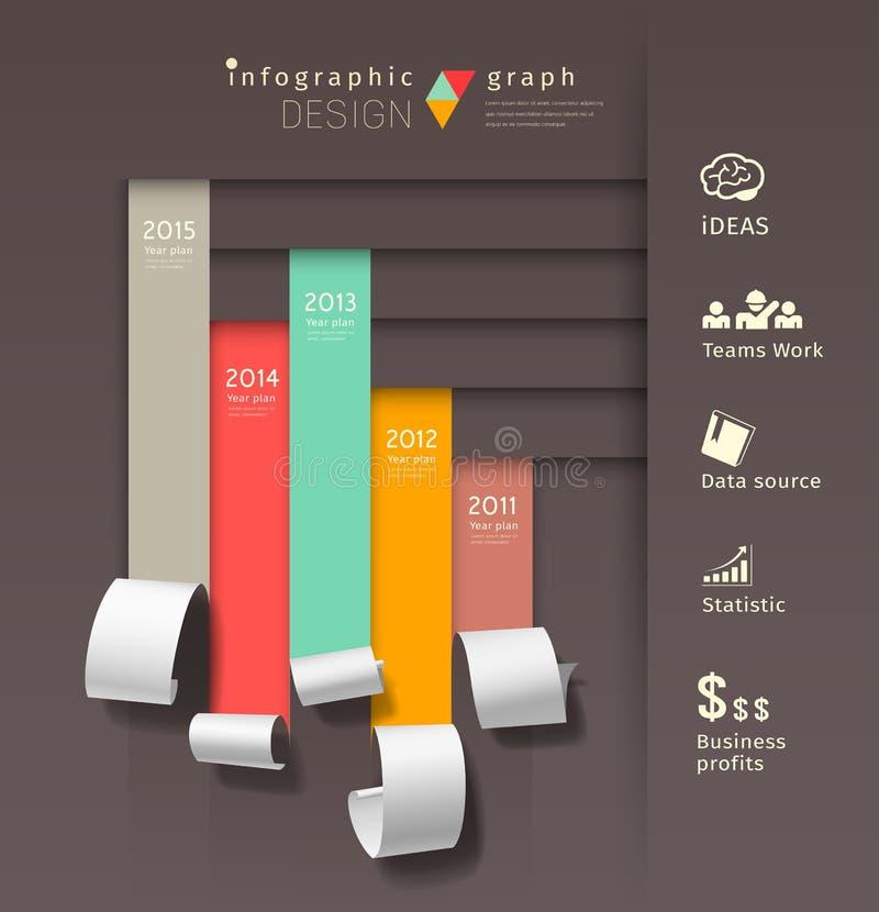 Покажите красочную бумажную диаграмму infographics крена бесплатная иллюстрация