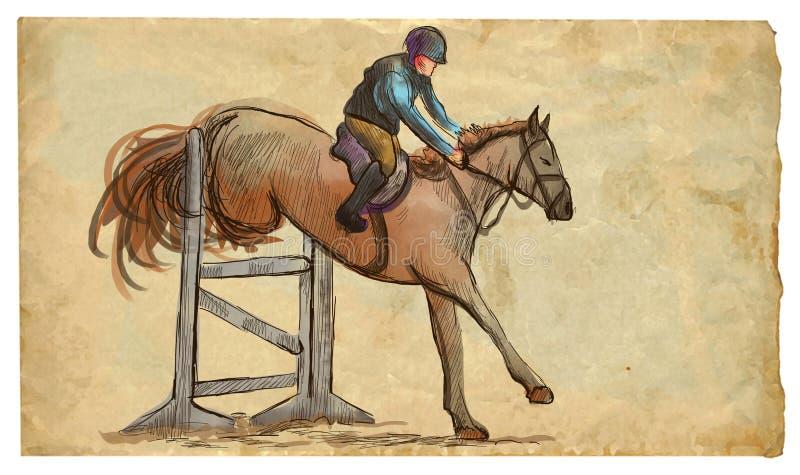 Покажите скакать, иллюстрация руки вычерченная покрашенная Линия метод искусства на старой бумаге стоковая фотография