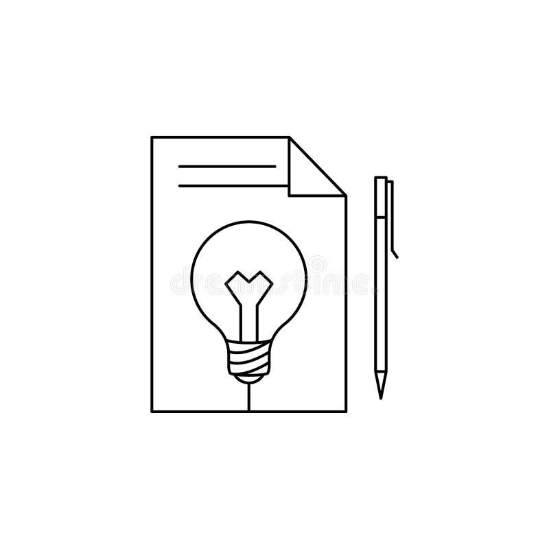 показатели на листе бумаги и значке электрической лампочки Элемент идеи и решений для передвижных apps концепции и сети Тонкая ли иллюстрация штока