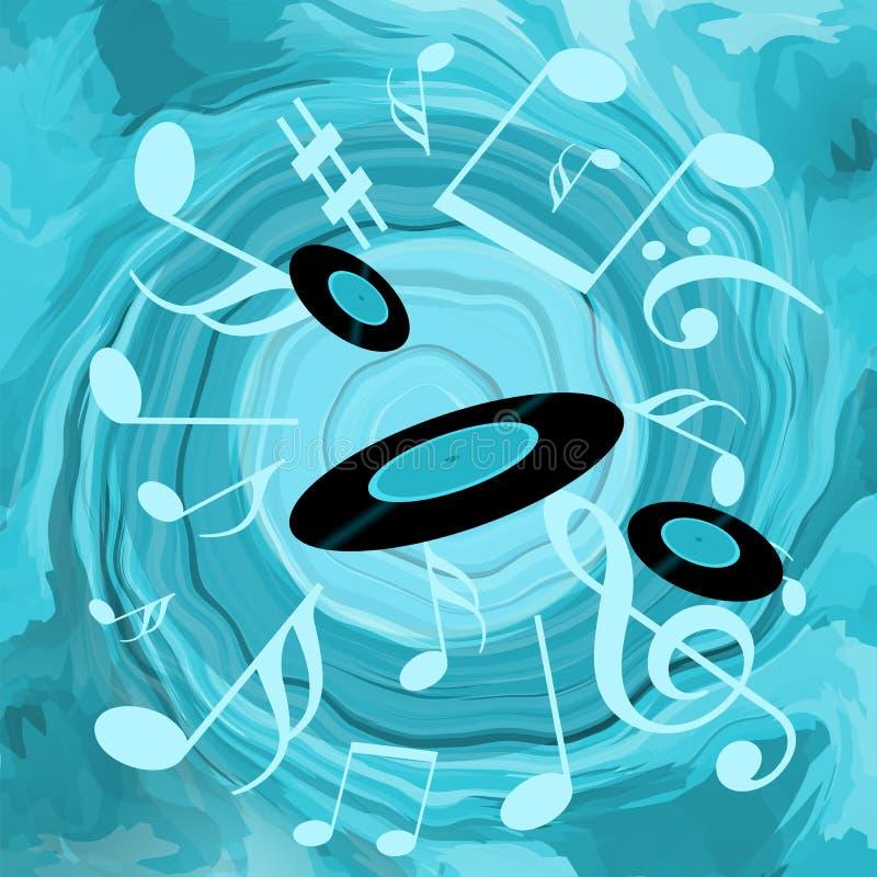 Показатели океана и винила музыки иллюстрация штока