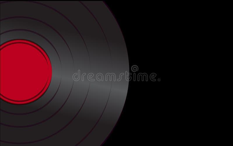 Показатель патефона черного яркого музыкального сетноого-аналогов ретро старого античного битника винтажный с красным центром для иллюстрация штока