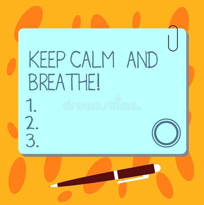 Показывать знака текста держит спокойствие и дышит Схематическое фото принимает перерыв для того чтобы преодолевать квадрат ежедн иллюстрация штока
