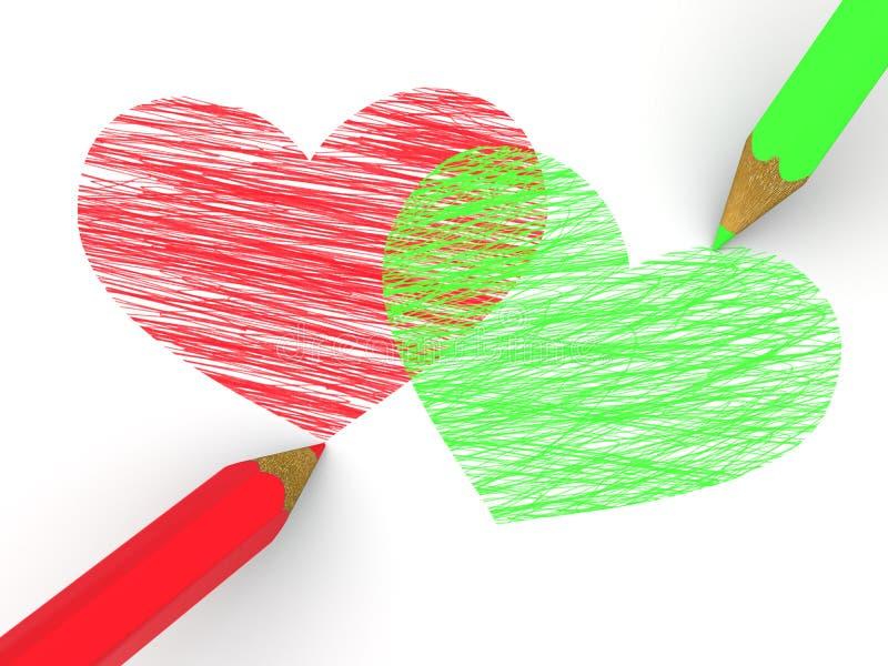 Картинки сердечек из карандашей