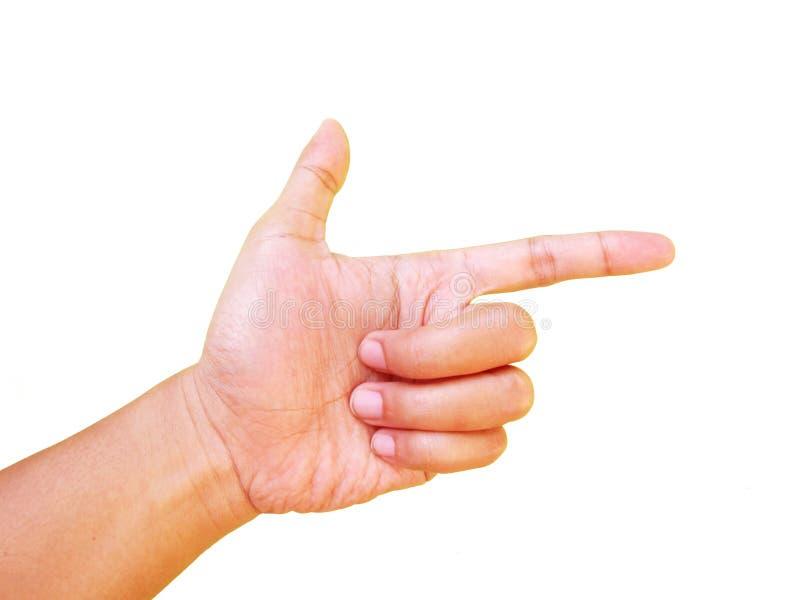 Показывать рука, сформируйте оружие стоковые фото