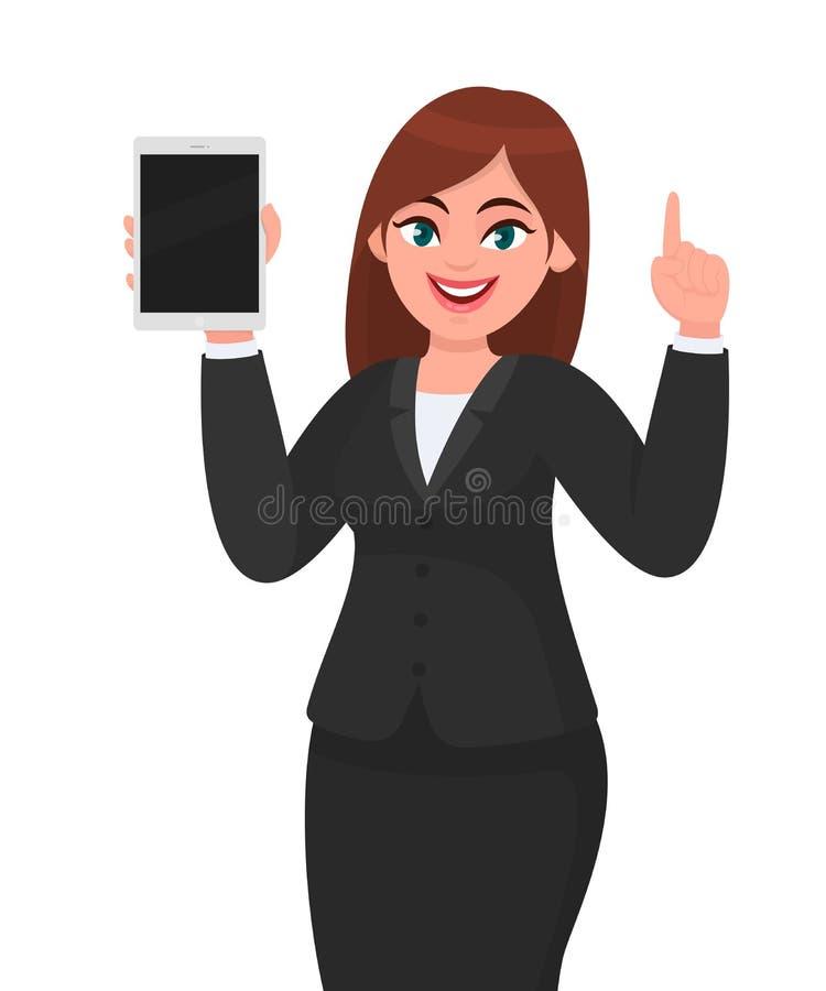 Показ бизнес-леди или удержание совершенно нового цифрового планшета и показывать жестами или указывать указательный палец вверх  иллюстрация вектора