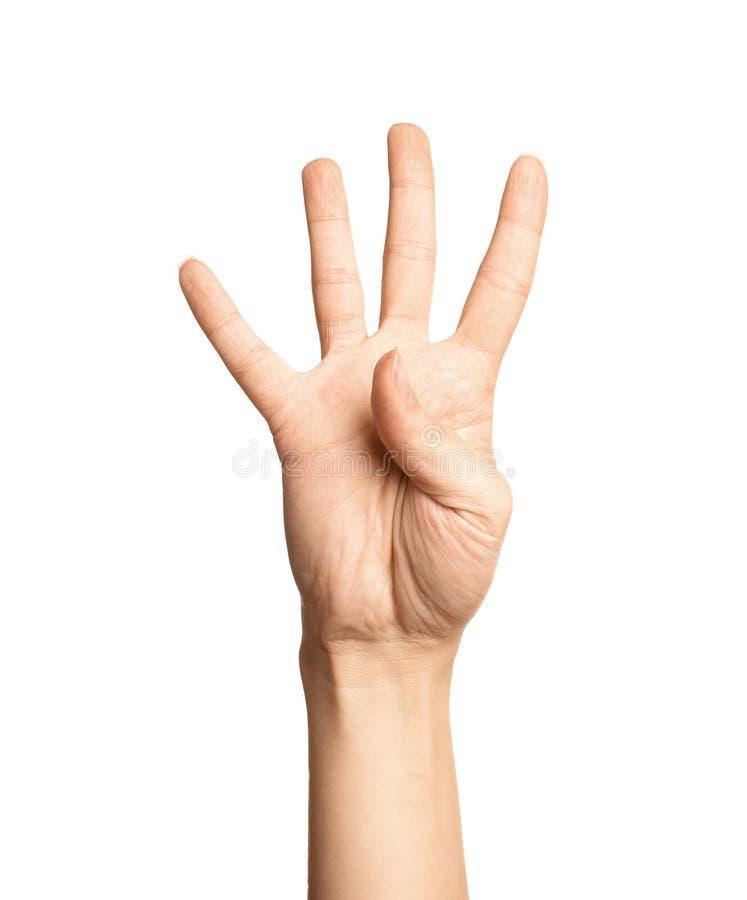 Показ 4 женщины на белом, крупный план Язык жестов стоковые изображения rf