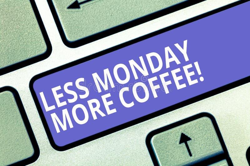 Показ знака текста без понедельника больше кофе Напиток схематического фото горячий, который нужно получить воодушевленный в клав стоковая фотография