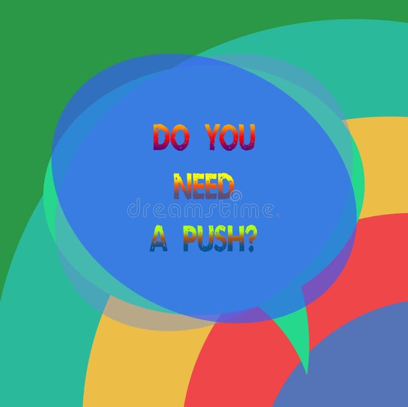 Показ знака текста вам нужно Pushquestion Схематическое фото говорит нам если вы можете использовать для того чтобы помочь мотива бесплатная иллюстрация