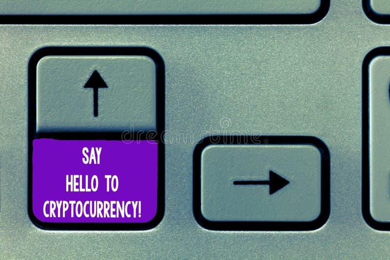 Показ знака текста говорит здравствуйте к Cryptocurrency Схематическое фото вводя децентрализованную клавишу на клавиатуре обмено стоковые изображения