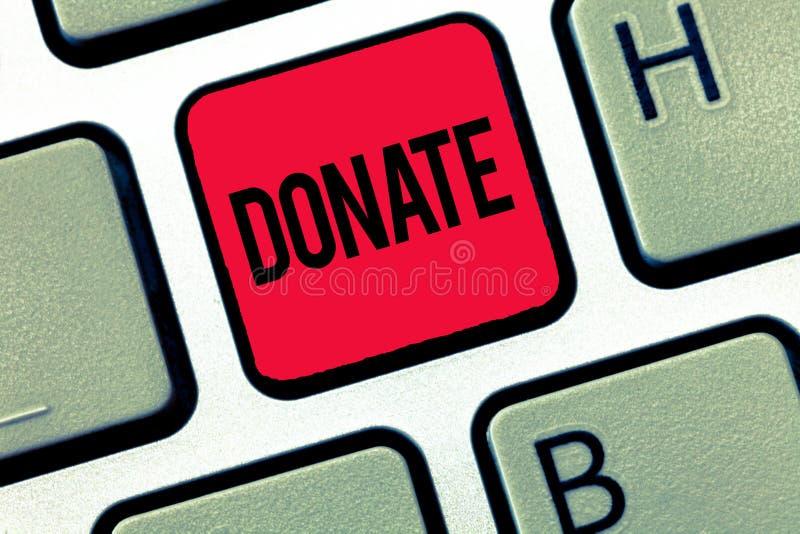 Показ знака текста дарит Схематическое фото дает деньги или товары для хорошей причины например к призрению или людям стоковое изображение