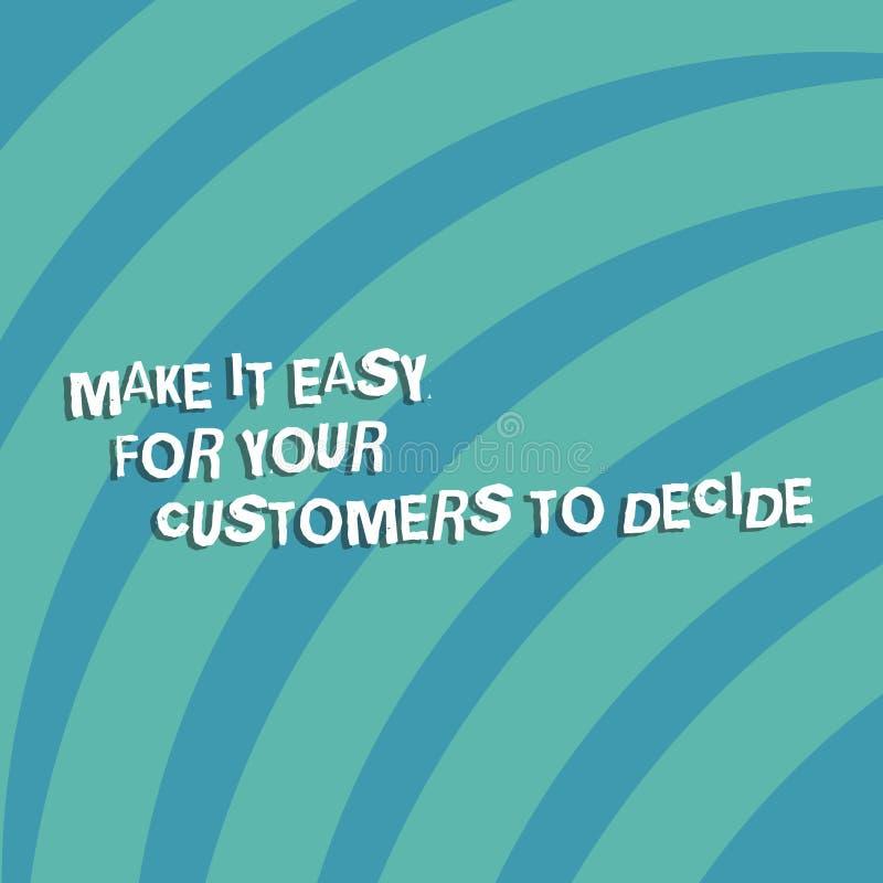 Показ знака текста делает его легкий для ваших клиентов решить Схематическое фото дает клиентам хорошие особенные варианты кварта иллюстрация вектора