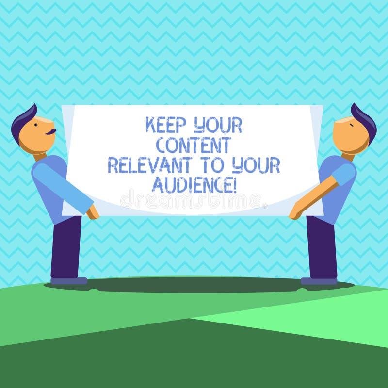 Показ знака текста держит ваше содержание уместный к вашей аудитории Маркетинговые стратегии схематического фото хорошие 2 люд иллюстрация штока