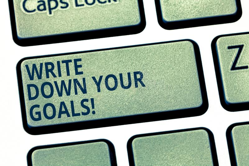Показ знака текста пишет вниз ваши цели Схематическое фото делает список вашей задачи для того чтобы остаться мотивированной клав стоковые фото