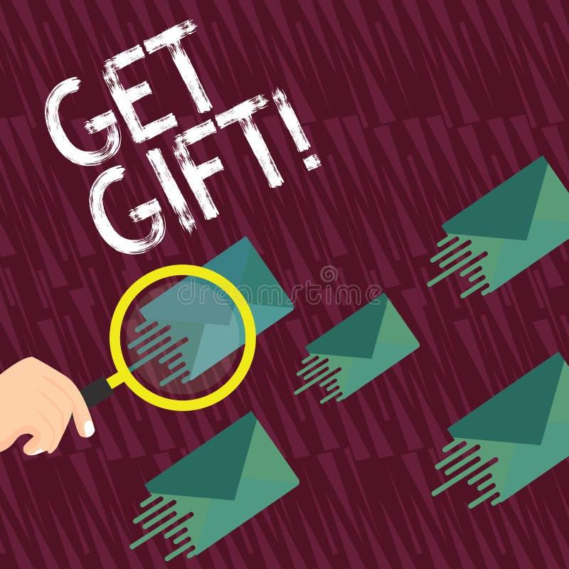 Показ знака текста получает подарок Схематическое фото что-то которое вы даете без получать что-нибудь в обмен лупу бесплатная иллюстрация