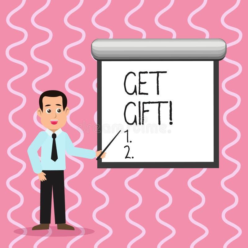 Показ знака текста получает подарок Схематическое фото что-то которое вы даете без получать что-нибудь в обмен человека в галстук иллюстрация вектора