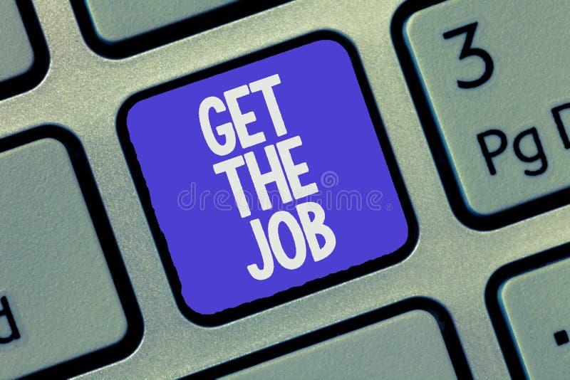 Показ знака текста получает работу Схематическое фото получает завербовывать Headhunting работы занятости положения стоковая фотография rf