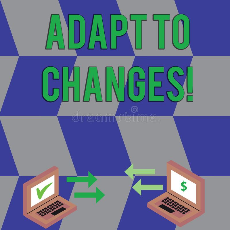 Показ знака текста приспосабливается к изменениям Приспособление изменений схематического фото новаторское с технологическим обме иллюстрация штока