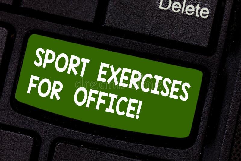 Показ знака текста резвится тренировки для офиса Схематическое фото разрабатывая в клавише на клавиатуре пригонки пребывания рабо стоковое фото