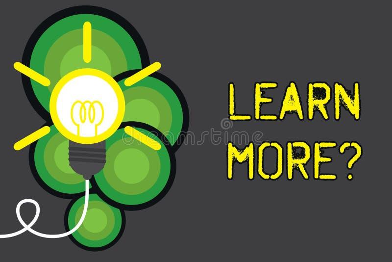 Показ знака текста учит больше вопроса Схематические знание или навык увеличения фото изучая практикуя большую электрическую ламп иллюстрация вектора