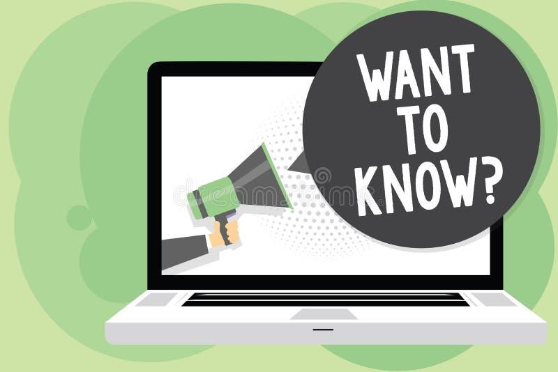 Показ знака текста хочет знать вопрос Схематический запрос информации фото спрашивая человеку знания потребности интереса держа M бесплатная иллюстрация