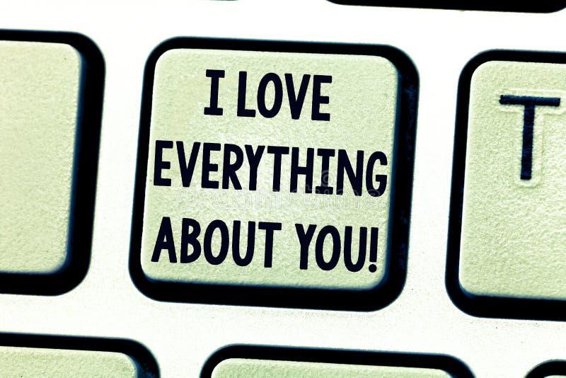 Показ знака текста я люблю все о вас Схематическое фото выражая roanalysistic клавиатуру чувств и эмоций стоковая фотография rf