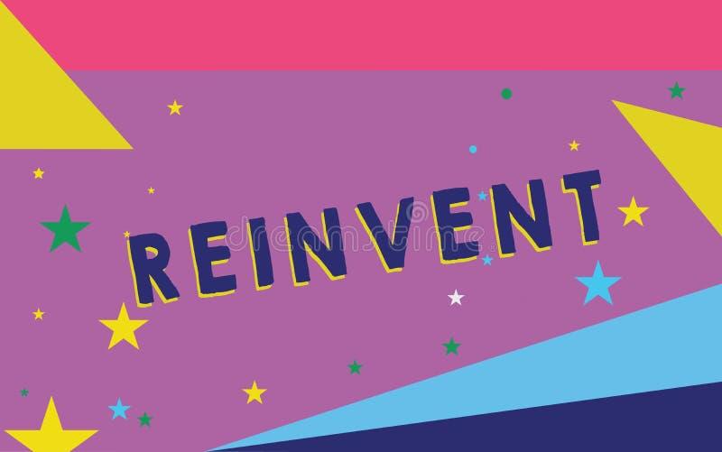 Показ знака текста Reinvent Схематическое изменение фото что-то так много что оно кажется, что будет полностью ново бесплатная иллюстрация