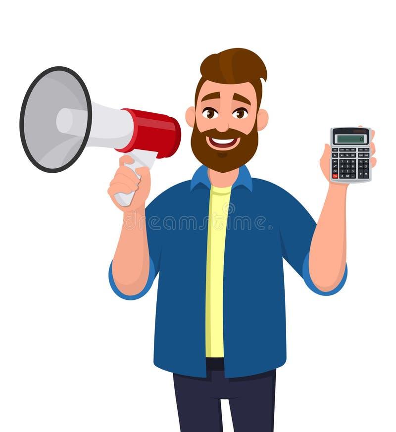 Показ молодого человека или удержание громкоговорителя мегафона и цифровых прибора и лупы калькулятора в руке E иллюстрация штока