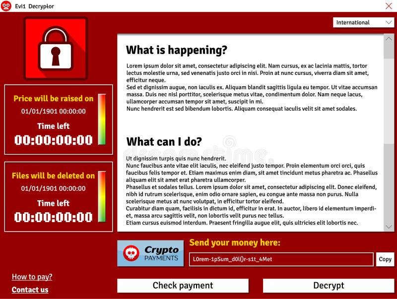 Показ окна интерфейса вируса Cryptolocker заразил данные уничтожая таймер бесплатная иллюстрация