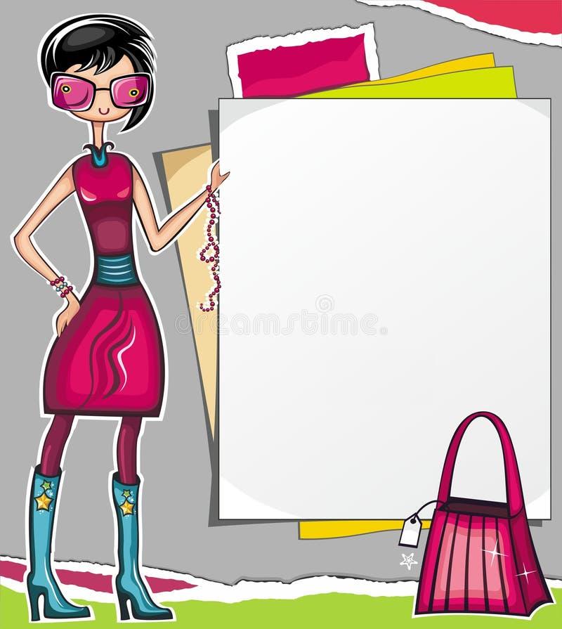 показ покупкы девушки бумажный иллюстрация вектора