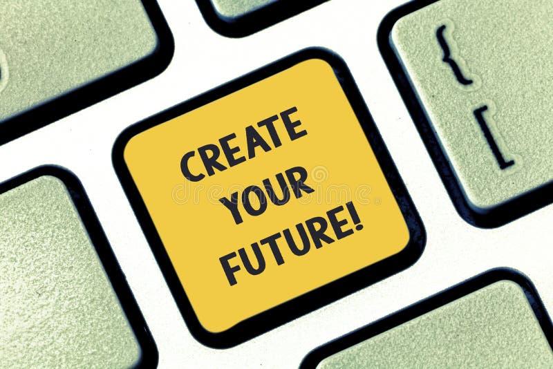 Показ примечания сочинительства создает ваше будущее Работа фото дела showcasing крепко для того чтобы сформировать вашу жизнь и  стоковая фотография rf