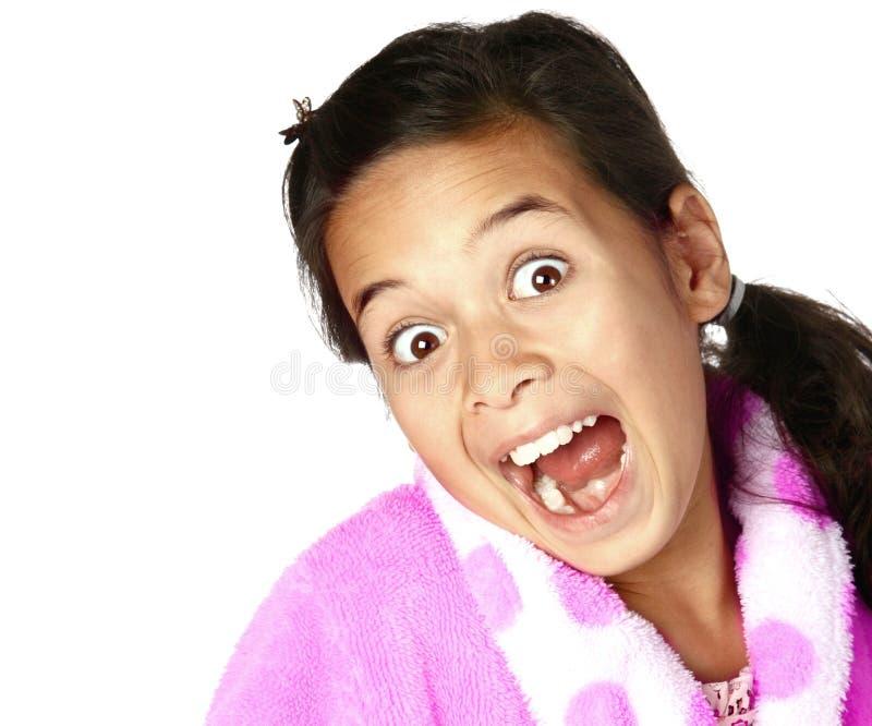показ рта девушки ободрения открытый широко стоковое фото rf